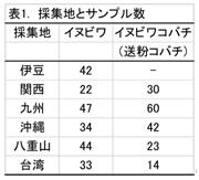表1. 採集地とサンプル数
